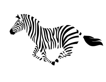 African zebra running side view outline striped silhouette animal design flat vector illustration isolated on white background.