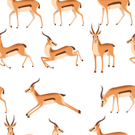 Seamless pattern of african wild black-tailed gazelle with long horns cartoon animal design flat vector illustration on white background side view antelope.