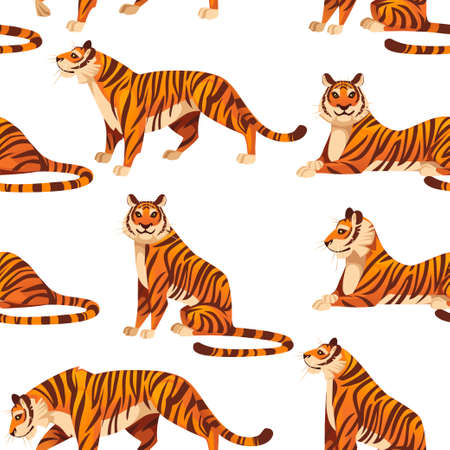 Seamless pattern of adult big red tiger wildlife and fauna theme cartoon animal design flat vector illustration on white background. Illustration