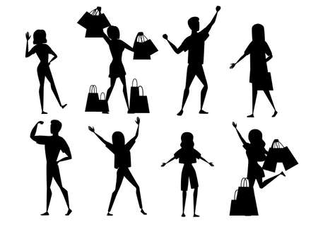 Black silhouette set of happy people men and women wearing casual clothes with upraised hands and woman with shopping bags cartoon character design flat vector illustration.