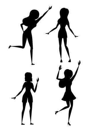 Black silhouette set of happy woman in casual clothes with up raised arms cartoon character design flat vector illustration isolated on white background. Ilustrace