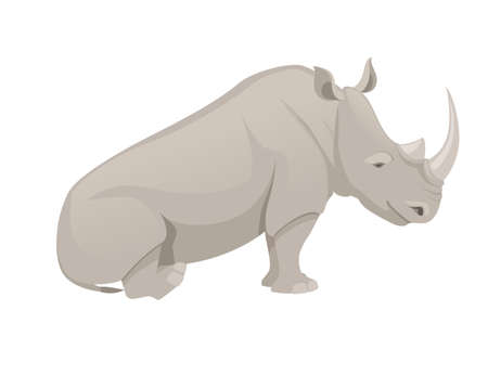 African rhinoceros sitting on the ground side view cartoon animal design flat vector illustration isolated on white background.