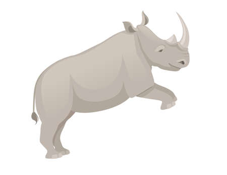 African rhinoceros jumping side view cartoon animal design flat vector illustration isolated on white background.