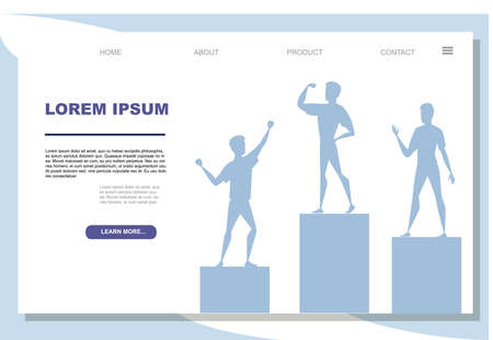 Winners podium with sports persons standing on it flat vector illustration on white background advertising banner website page design.