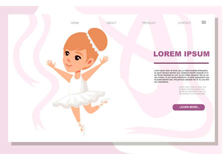 Girl kid wearing ballerina dress with shoes cartoon character design flat vector illustration on white background website page design advertising banner.