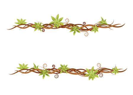 Vine plant set green wild lianas branches flat Ilustração