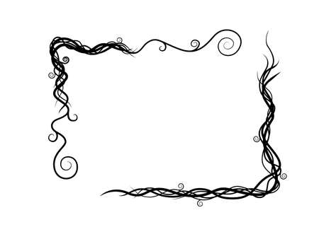 Black silhouette vine plant abstract wild branches frame flat