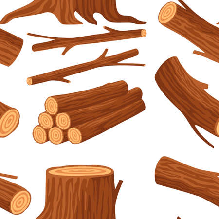 Seamless pattern with wood logs for lumber industry with trunks stump and planks flat