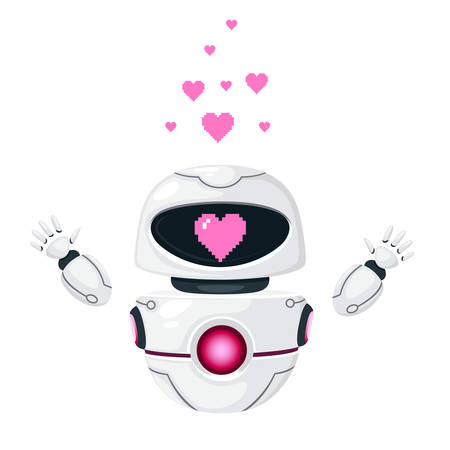 Cute white modern levitating robot raised hands and with pink heart love face flat vector illustration isolated on white background.