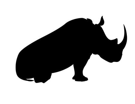 Black silhouette african rhinoceros sitting on the ground side view cartoon animal design 向量圖像