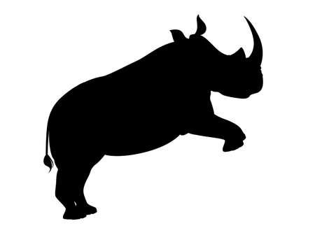 Black silhouette african rhinoceros jumping side view cartoon animal design