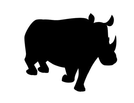 Black silhouette african rhinoceros walking cartoon animal design