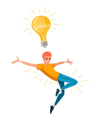 Young happy man with upraised hand and jumping has an idea yellow retro light bulb cartoon character design flat vector illustration isolated on white background.
