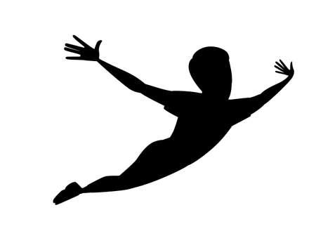 Black silhouette flying man cartoon character design Stok Fotoğraf - 128811573
