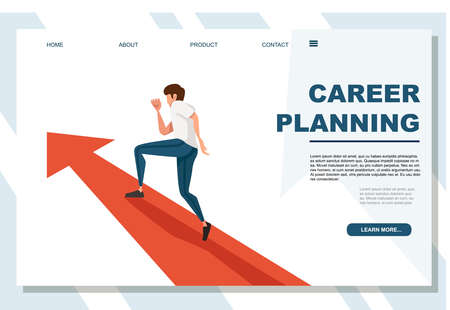 Man running career planning concept cartoon character design flat vector illustration on white background advertising banner website page.
