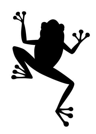 Black silhouette cute smiling frog sitting on ground cartoon animal design