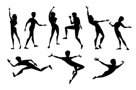 Black silhouette set of people in different poses wearing casual clothes cartoon character design