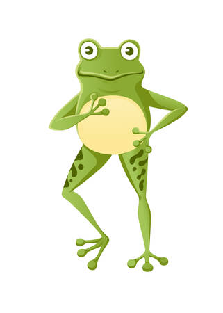 Cute smiling green frog standing on two legs cartoon animal design