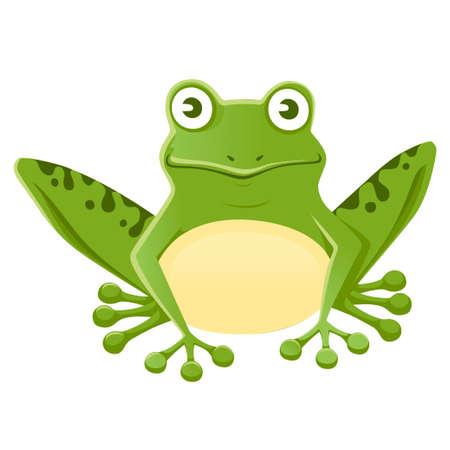 Cute smiling green frog sitting on ground cartoon animal design Illustration