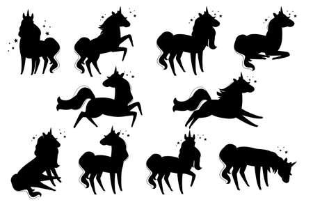 Conjunto de silueta negra de animal mítico mágico del diseño de animales de dibujos animados de unicornio de cuento de hadas Ilustración de vector