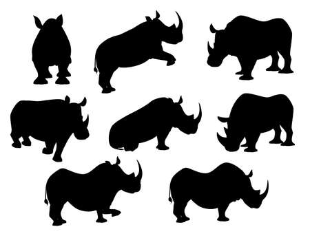 Black silhouette african rhinoceros in different poses cartoon animal design