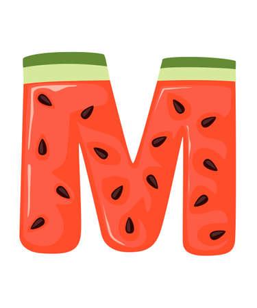 Fruit letter M watermelon style cartoon fruit design