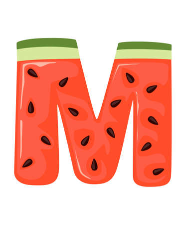 Fruit letter M watermelon style cartoon fruit design
