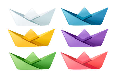 Set of colored folded paper boats flat vector illustration isolated on white background.