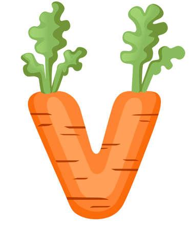 Vegetable letter V carrot style cartoon vegetable design Stok Fotoğraf - 128811203