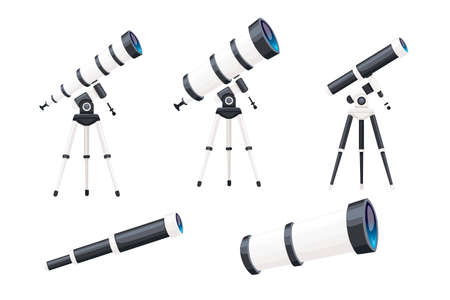 Set of white telescopes with stands and without flat vector illustration isolated on white background.