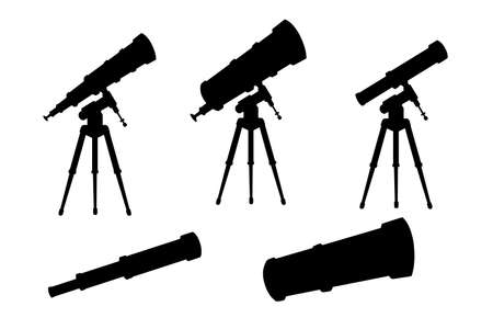 Black silhouette set of telescopes with stands and without flat vector illustration isolated on white background. Иллюстрация