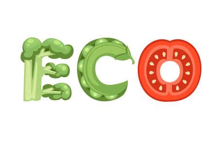 ECO style cartoon vegetable design flat vector illustration isolated on white background. Çizim