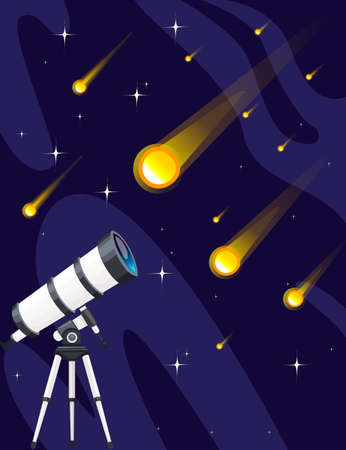 White telescope and falling stars on night sky background flat vector illustration starfall design vertical banner. Иллюстрация
