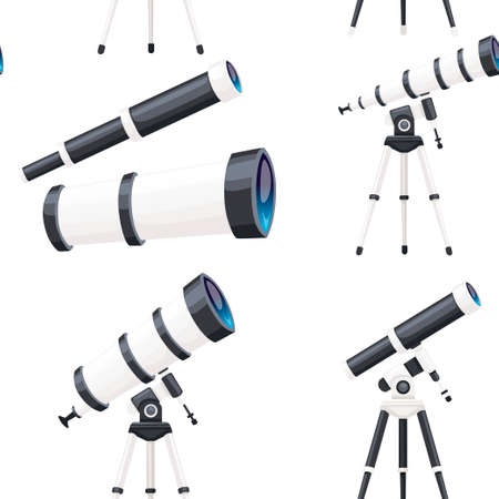 Seamless pattern of white telescopes with stands and without flat vector illustration on white background. Иллюстрация