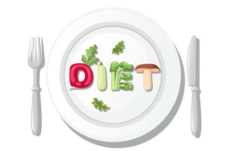 DIET style cartoon vegetable design on white plate with knife and fork flat vector illustration isolated on white background. Çizim