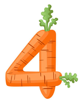 Orange carrot number 4 style vegetable food cartoon design flat vector illustration isolated on white background. Vectores