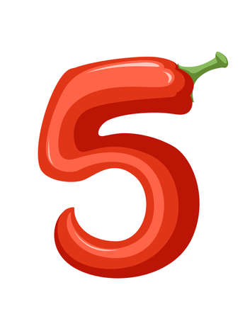 Red pepper number 5 style vegetable food cartoon design flat vector illustration isolated on white background.