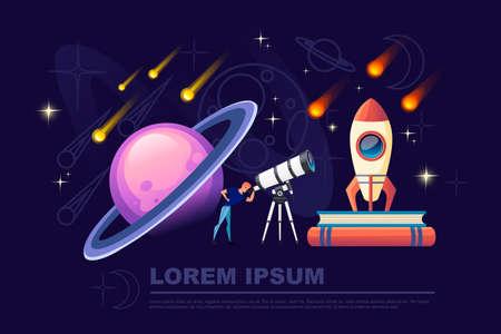 Man looking through a white telescope with falling stars on night sky background flat vector illustration planetarium design horizontal banner.
