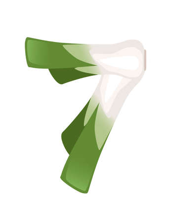 Green leek number 7 style vegetable food cartoon design flat vector illustration isolated on white background.