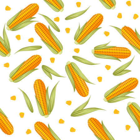 Corn combs with lettuce leaves seamless pattern flat vector illustration on white background.