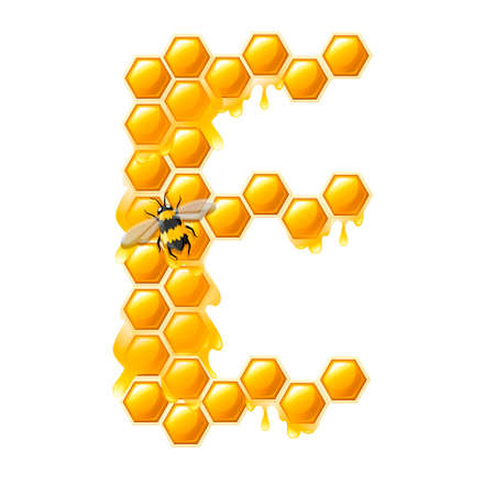 Honeycomb letter E with honey drops and bee flat vector illustration isolated on white background. Banque d'images - 129897180