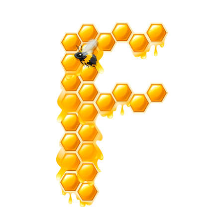 Honeycomb letter F with honey drops and bee flat vector illustration isolated on white background. Banque d'images - 129898030