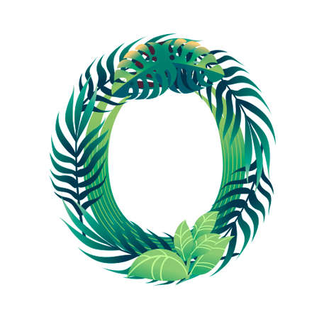 Leaf letter O with diffirent types of green leaves and foliage flat vector illustration isolated on white background. Ilustração
