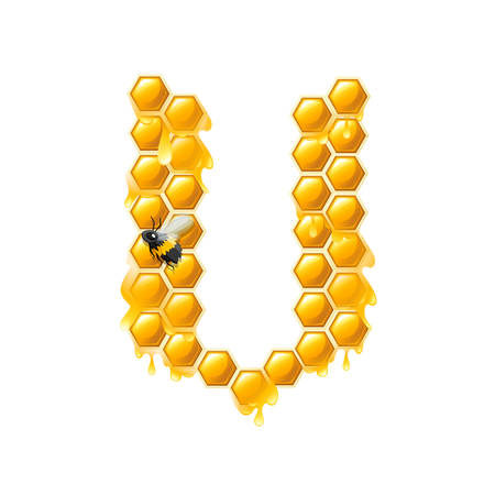 Honeycomb letter V with honey drops and bee flat vector illustration isolated on white background. Banque d'images - 129898036