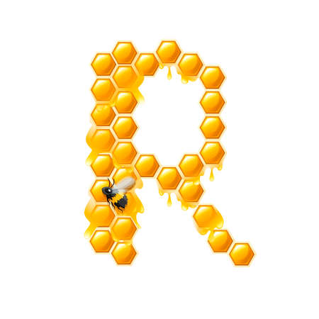 Honeycomb letter R with honey drops and bee flat vector illustration isolated on white background.