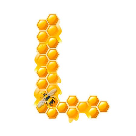 Honeycomb letter L with honey drops and bee flat vector illustration isolated on white background.