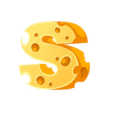 Cheese letter S style cartoon food design flat vector illustration isolated on white background. 向量圖像
