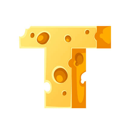 Cheese letter T style cartoon food design flat vector illustration isolated on white background.