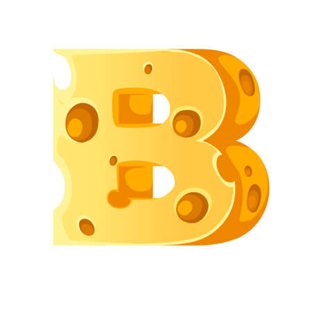 Cheese letter B style cartoon food design flat vector illustration isolated on white background. 矢量图像