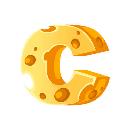 Cheese letter C style cartoon food design flat vector illustration isolated on white background.